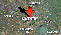 Map showing Coventry